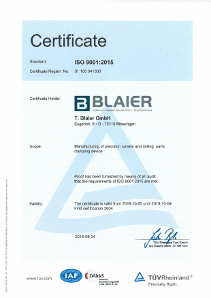 Certificate ISO 9001:2015 - English